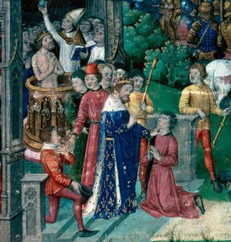 Royal touch - A 15th-century manuscript depicting the tradition that Clovis I healed the scrofulous following his coronation.