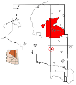 This map shows the Hopi reservation, including its 2 major exclaves, in Coconino and Navajo counties, Arizona