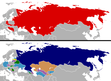 Changes in national boundaries in post-Soviet states after the revolutions of 1989 followed by a resurgence of nationalism Cold War border changes.png
