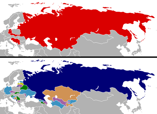 Changes in national boundaries after the collapse of the Eastern Bloc Cold War border changes.png