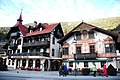 Colourful historic hotels at Oetz dominate the streetview when passing trough to the Otztal - panoramio.jpg