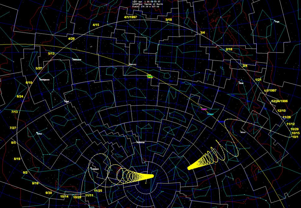 Comet Hale-Bopp starmap 1997