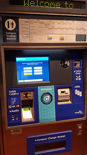 Compass Card (TransLink) - A Compass Ticket vending machine located at Metrotown station