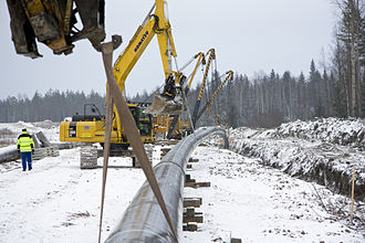 Gasum - Image: Constructing natural gas line in winter, Finland