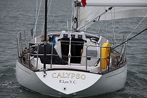 Contessa 32 - The stern, showing the reverse counter-stern design and the moderate tumblehome.