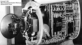 Convair F-102 Delta Dagger - Hughes MC-3 fire control system and radar antenna