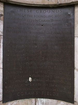 Coram's Fields - Bronze plaque at entrance