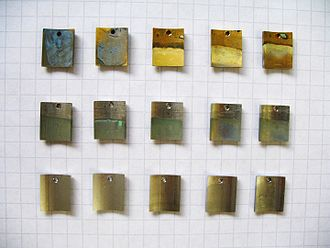 Stainless steel - Stainless steel (bottom row) resists salt-water corrosion better than aluminium-bronze (top row) or copper-nickel alloys (middle row)