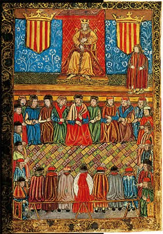 Cortes Generales - A meeting of the Catalan Courts in the 15th century. Spain was de facto unified when Charles I (V of the Holy Roman Empire) assumed the thrones of both Castile and Aragon in 1516; the different territories of the Spanish monarchy retained some different degrees of autonomy and were not fully centralized until its first modern Constitution was passed in 1812.