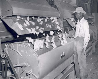 A cotton gin in the 1940s Cotton Gin - Flickr - USDAgov.jpg