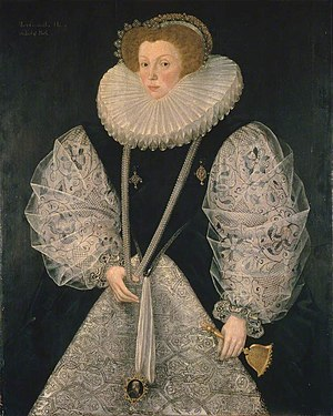 William Bourchier, 3rd Earl of Bath - Mary Cornwallis (d.1627), first wife, portrait by George Gower, Manchester City Art Gallery
