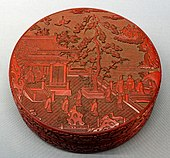 Covered box with pavilion and figures, China, Yuan dynasty, 1300s AD, carved lacquer - Tokyo National Museum - Tokyo, Japan - DSC08285.jpg