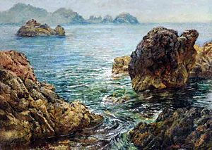 Saint Martin, Guernsey - Cradle Rock and Pea Stacks, by William John Caparne
