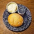 Cream tea scone at Highdown Gardens, Worthing, West Sussex, England.jpg
