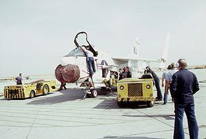 Crewmen with VA-122 A-7E at Moffett Field 1982.JPEG