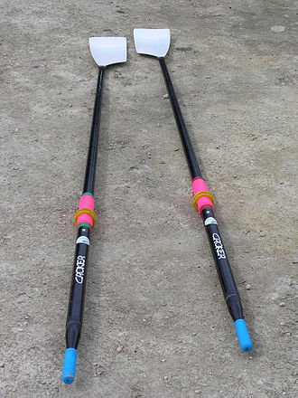"Glossary of rowing terms - Two sculling oars. The ""blades"" are at the top of the picture and the handles are at the bottom of the picture. The blades are ""hatchet blades."""