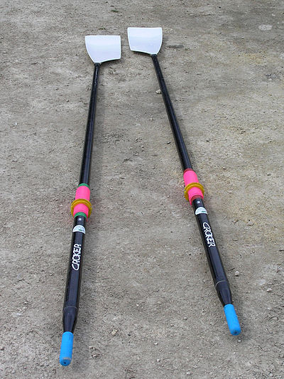 "Two hatchet sculls. The ""blades"" are at the top and the handles at the bottom of the picture. Croker Sculling Oars.jpg"