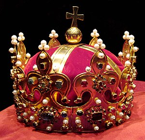 Coronation crown - Crown of Bolesław I (replica made in 2001-2003 after original was stolen in 1794 by Prussian soldiers) used to crown Polish Kings