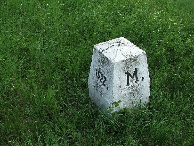 Fájl:Csenger, Ungarn-Rumänien Grenze 1922, Grenzstein.jpg
