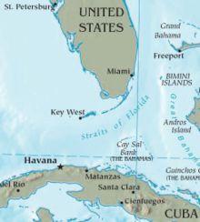Cuba-Florida map.