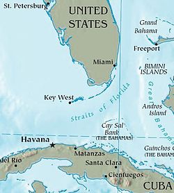 Cay Sal Bank just south of Florida and a little north of Cuba, with Bermuda to the West