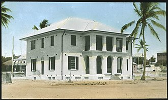 Customs House, possibly during construction in 1938 Customs House, Thursday Island.jpg