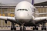 D-AIMC Lufthansa Airbus A380-841 on taxiway for further departure to San Francisco (SFO) @ Frankfurt Rhein-Main International (FRA).jpg