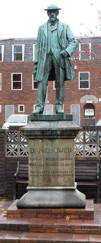 Daniel Owen - Statue of Daniel Owen outside the Library in his home town of Mold