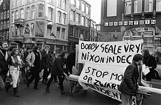 Bobby Seale - Demonstration for Black Panther Bobby Seale in Amsterdam March 14, 1970