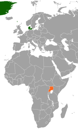 Map indicating locations of Denmark and Uganda