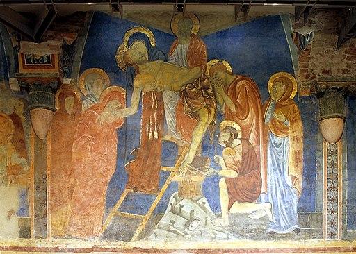 Deposizione dalla croce, 1280 circa, affresco,Siena,cripta del Duom
