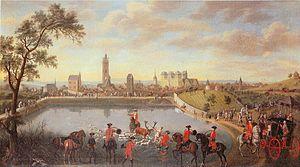 Louis VIII, Landgrave of Hesse-Darmstadt - A deer hunt near Darmstadt. Painting by Georg Adam Eger 1755