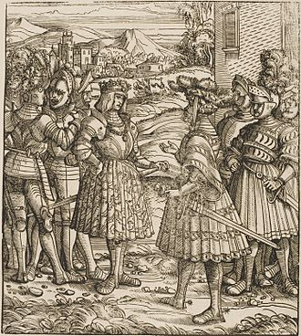 Maximilian I, Holy Roman Emperor - Maximilian talking to German knights (depiction from the contemporary Weisskunig)