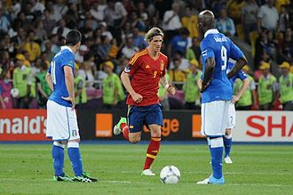 UEFA Euro 2012 - Fernando Torres and Mario Balotelli (both with №9) in the final match