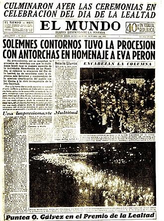 El Mundo (Argentina) - Cover page of El Mundo from 19 October 1952
