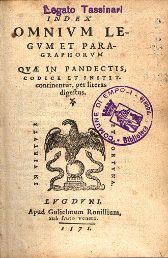 Codex Gregorianus - Alphabetical index on the Corpus Juris, printed in Lyon, 1571