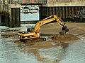 Digger at the entrance to Burry Port harbour - geograph.org.uk - 1025520.jpg