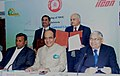 Dinesh Trivedi witnessing the signing ceremony of a Memorandum of Understanding (MOU) between the two PSUs of Ministry of Railways.jpg