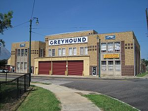 Uptown Memphis, Tennessee. Dixie Greyhound Bus...