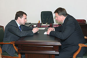 Vyacheslav Dudka - Dmitry Medvedev with Governor of Tula Region Vyacheslav Dudka (2009)
