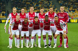 2014–15 AFC Ajax season - Ajax lining up for the UEFA Europa League away match against Dnipro on 12 March 2015.