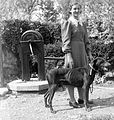 Dog, portrait, woman, well, garden, summer Fortepan 24948.jpg