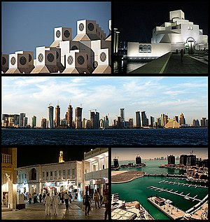 From top: Qatar University, Museum of Islamic Art, Doha Skyline, Souq Waqif, The Pearl