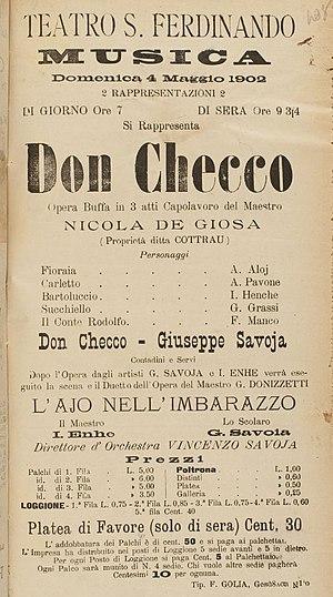 Don Checco - Poster for a performance of Don Checco at the Teatro San Ferdinando in 1902