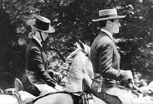 Cayetana Fitz-James Stuart, 18th Duchess of Alba - The Duchess (left) horse riding with Bullfighter Ángel Peralta in 1961