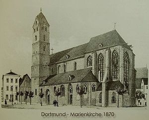 Marienkirche, Dortmund - The church on a postcard, ca. 1870