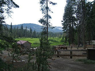 Drakesbad Guest Ranch - Drakesbad Guest Ranch corrals and Warner Valley.