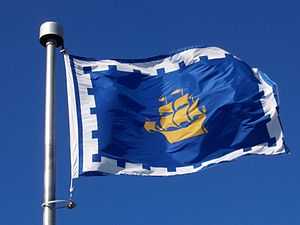 Flag of Quebec City - The flag of Quebec City shown in use