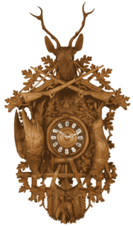 Cuckoo clock typically pendulum-regulated clock that strikes the hours with a sound like a common cuckoos call