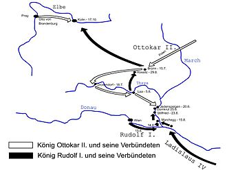 Battle on the Marchfeld - Movements of the opposing forces prior to the battle (in German)